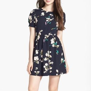 SOPRANO Navy Blue Floral Skater Dress